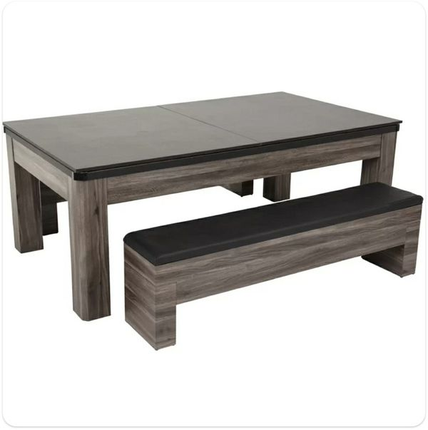 Convertible Table for Pool, Ping Pong and Dining w/ Storage Benches