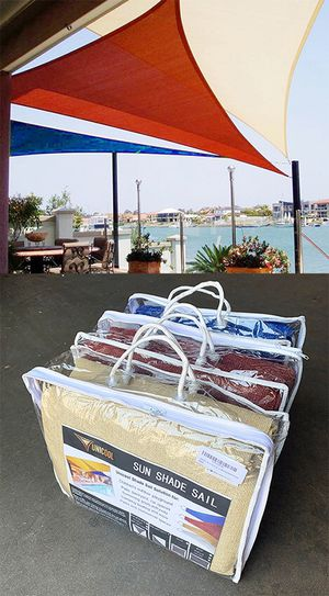 (NEW) $30 each 23'x16'x16' Triangle Sun Shade Sail Outdoor Top Cover w/ Ropes (Tan, Red or Blue) for Sale in El Monte, CA