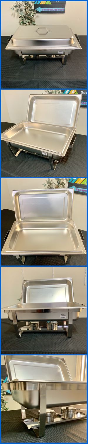 8 QT STAINLESS STEEL FULL SIZE CHAFER DISHING CHAFERS WITH FOLDING FRAME AND FUEL HOLDERS STEAMERS CATERING SUPPLIES for Sale in Garden Grove, CA