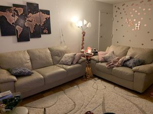 Beige leather 3-piece sofa set (sleeper and reclining rocker chair) for Sale in Linthicum Heights, MD