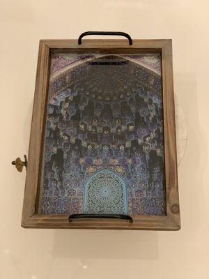 Beautiful hand made wooden servingn tray with persian tile design and resin decorative tray with handle for Sale in Duluth, GA