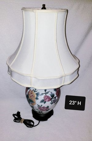 Vintage Chinese Porcelain Table Lamp Cabbage Rose Ginger Jar Base with Canterbury Hand Tailored Bell Linen Lampshade for Sale for sale  Jacksonville, FL