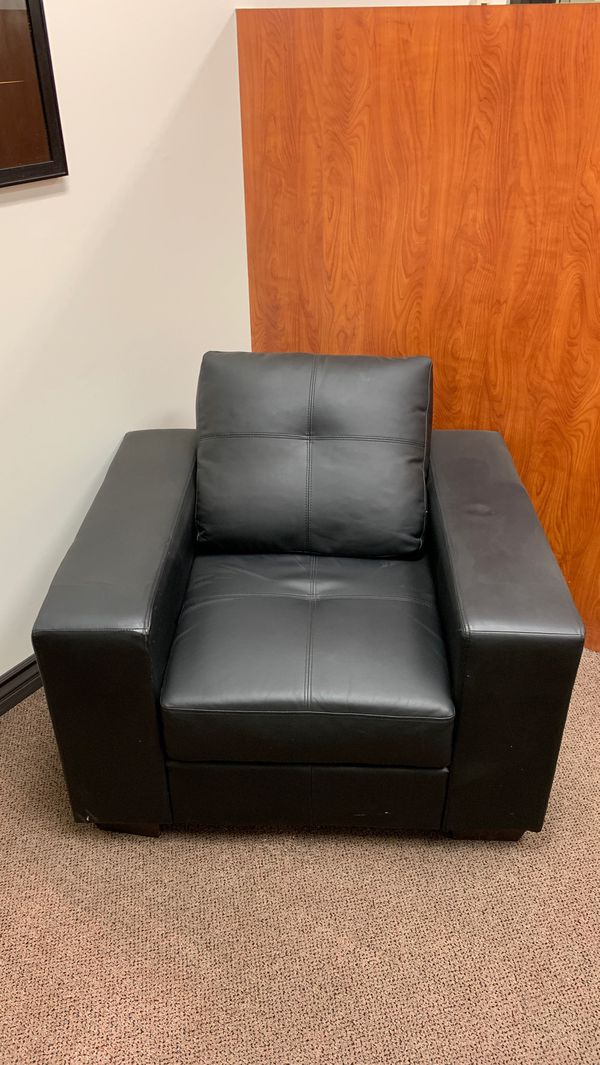 Black faux leather chair for office waiting room