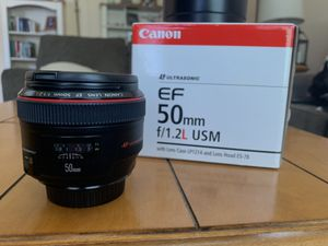Canon 50mm 1.2 (PERFECT CONDITION) for Sale in Redlands, CA