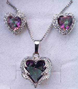 Sterling silver mystic topaz heart necklace and earring set for Sale in Baltimore, MD