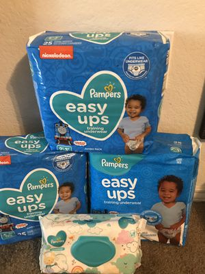 Pampers Easy UPS size 2T-4T and pack of Pampers wipes for Sale in Arlington, TX