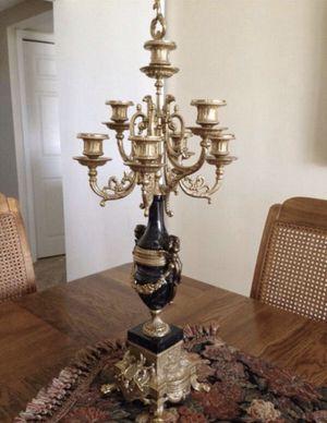 AUTHENTIC LANCINI candelabras bronze black marble for Sale in Aventura, FL