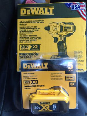 Dewalt half inch mid-range impact wrench and 5 ah battery. for Sale in Oregon City, OR