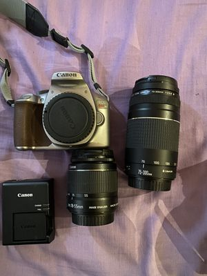 CANON T6 BUNDLE WITH 18-55 MM and 75-300MM LENSES and CHARGER for Sale in Waterbury, CT