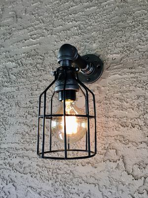 Industrial Black Iron Pipe Wall Sconce for Sale in Phoenix, AZ