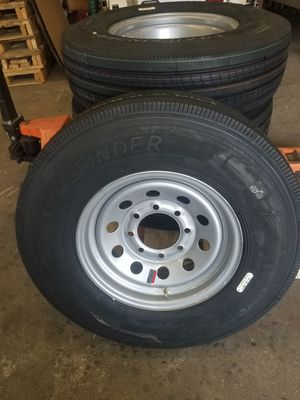 ST 235/80 R 16 14 ply Heavy Duty premium Trailer Tires mounted on Silver Mod 8 hole wheels for Sale in Dallas, TX