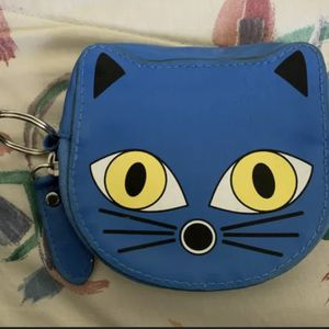 Blue Coin Purse Key Ring Cat Yellow Eyes 5 Inches Zipper for Sale in Centreville, VA