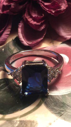 Pretty blue gemstone sapphire emerald cut on 925 sterling silver sz7 for Sale in Northfield, OH