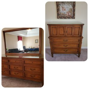 Nice solid wood White furniture triple dresser with chest for Sale in Memphis, TN