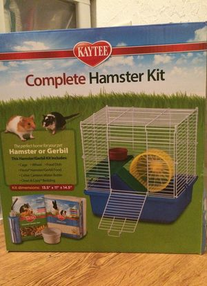 Medium Hamster Cage including food bowl, water bottle, and 2nd story with wheel for Sale in Orlando, FL