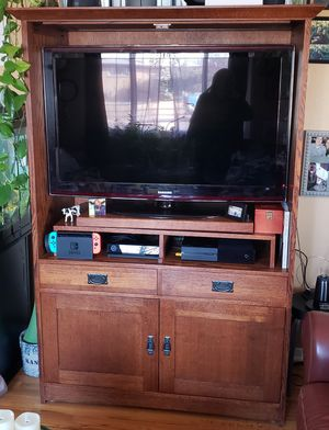 3-piece, Amish-made, quarter-sawn oak entertainment center for Sale in Denver, CO