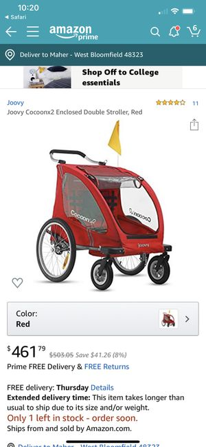 JOOVY COCOONX2 ENCLOSED DOUBLE STROLLER, RED for Sale in West Bloomfield Township, MI