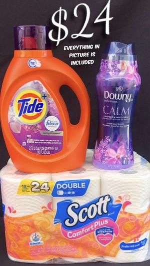 Tide Detergent 92oz. 59 Loads. Downy Scent Booster 14.8oz. Scott Toilet Paper 🧻 12 Rolls for Sale in Lynwood, CA