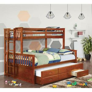 OAK FINISH XL TWIN OVER QUEEN SIZE BUNK BED + TRUNDLE + STORAGE DRAWERS for Sale in Riverside, CA