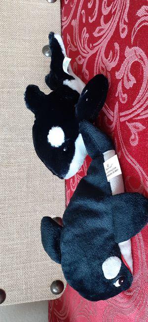 $7 Lot of 2 Killer Whale Plush Stuffed Animal Toys - Shamu Sea World for Sale in Hemet, CA