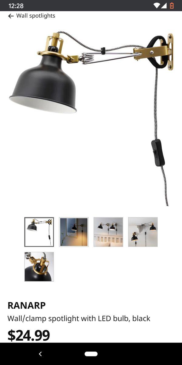 Two RANARP Ikea clamp lights