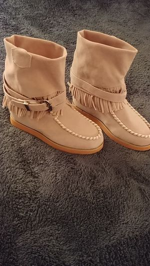 Ladies Size small suede type fringed booties for Sale in Burlington, NC