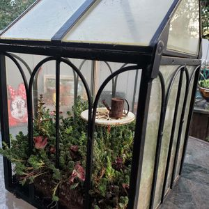 Table top greenhouse with glass, black metal trim, and live mixed sedum for Sale in Alpine, CA