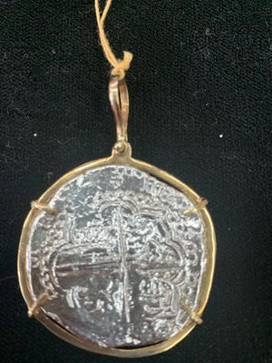 Atocha silver coin pendant in gold bezel for Sale in San Angelo, TX