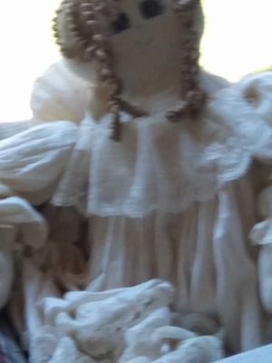 VINTAGE HANDMADE RAG DOLL WITH A VERY LONG AND SPREADABLE DRESS for Sale in Fort Worth, TX