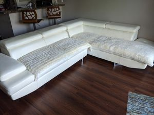 FREE- couch White faux leather sectional with covers for Sale in Santa Ana, CA