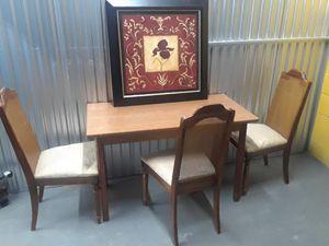 Antique wooden chairs woven rectangular table dining room for Sale in Takoma Park, MD
