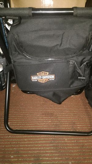 Black Harley Davidson camp chair with lunch cooler for Sale in Carson City, NV