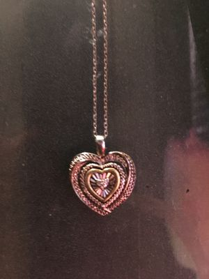 Sterling silver necklace heart pendant With real diamonds for Sale in College Park, GA
