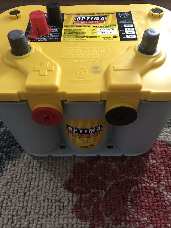 New Yellow Optima Battery Top & Side Post $75 obo