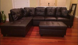 Brand New brown Leather Sectional Sofa with Storage Ottoman for Sale in Bellevue, WA