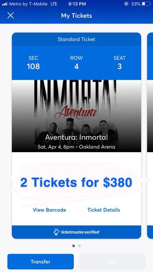 Tickets aventura for Sale in Oakland, CA