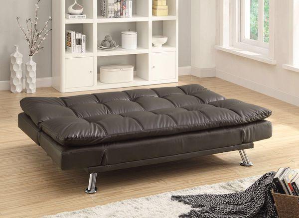 Brown Leather Futon Sofa Bed