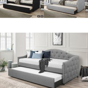 🌈BEAUTIFUL DAY BED WITH TRUNDLE! SAME DAY DELIVERY - GRAY OR BLACK for Sale in Houston, TX