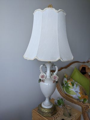 Antique France Berger Swiver Harp Rose Porcelain Lamp 3D Rose Gold Deco! for Sale in Alexandria, VA