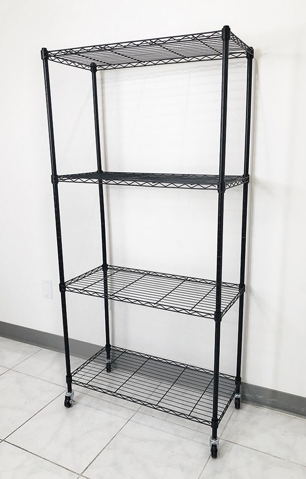 """New $50 Metal 4-Shelf Shelving Storage Unit Wire Organizer Rack Adjustable w/ Wheel Casters 30x14x61"""""""