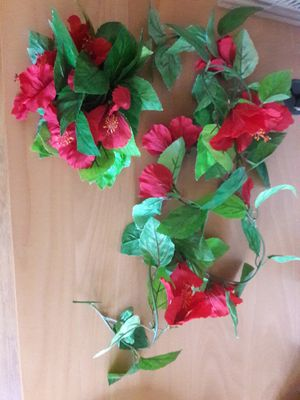 Lot of two Hibiscus Garlands, red, artificial, 6 feet each, new, never used for Sale in Sun City, AZ