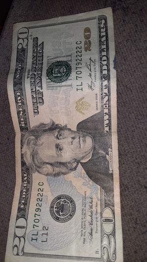 Need to sell now best offer gets it rare $20 dollar bill look at the serial numbers for Sale in Puyallup, WA