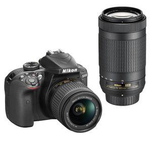 Nikon - D3400 DSLR Camera with AF-P DX 18-55mm G VR and 70-300mm G ED Lenses - Black for Sale in Gilbert, AZ