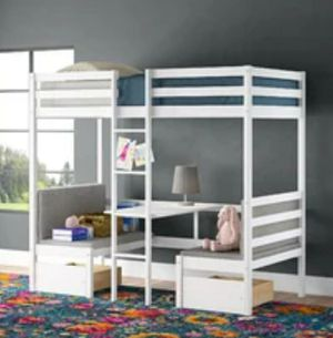 White loft twin bed w desk 2 padded seats for Sale in Snohomish, WA