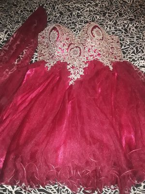 Nice Burgundy PROM dress size 14 great condition used 1 time $40 for Sale in West Puente Valley, CA