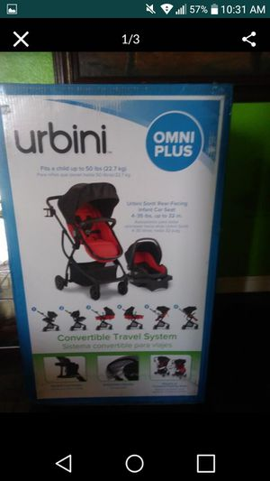 URBINI OMNI PLUS TRAVEL STROLLER CAR SEAT AND BASSINET 3 in 1 only used 3 months for Sale in Hesperia, CA