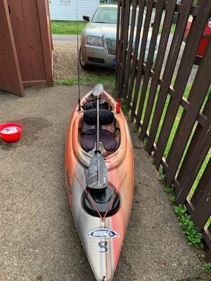 Fishing Kayak, with paddles, dry box, cup holder, rod holder, light, and current launch sticker for Sale in Ellwood City, PA