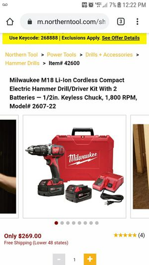 Milwaukee m18 - 2607-22 Compact Hammer Drill Driver Kit w Battery Charger Case for Sale in Marianna, FL