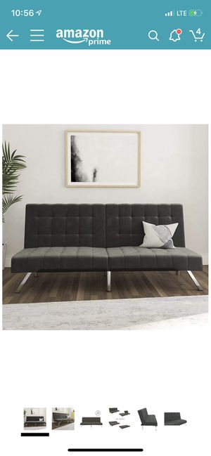 Futon Couch Bed - Velvet Upholstery- Grey for Sale in Imperial Beach, CA
