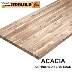 Interbuild Unfinished Acacia 6 ft. L x 25 in. D x 2 in. T Butcher Block Countertop with Live Edge for Sale in Dallas, TX